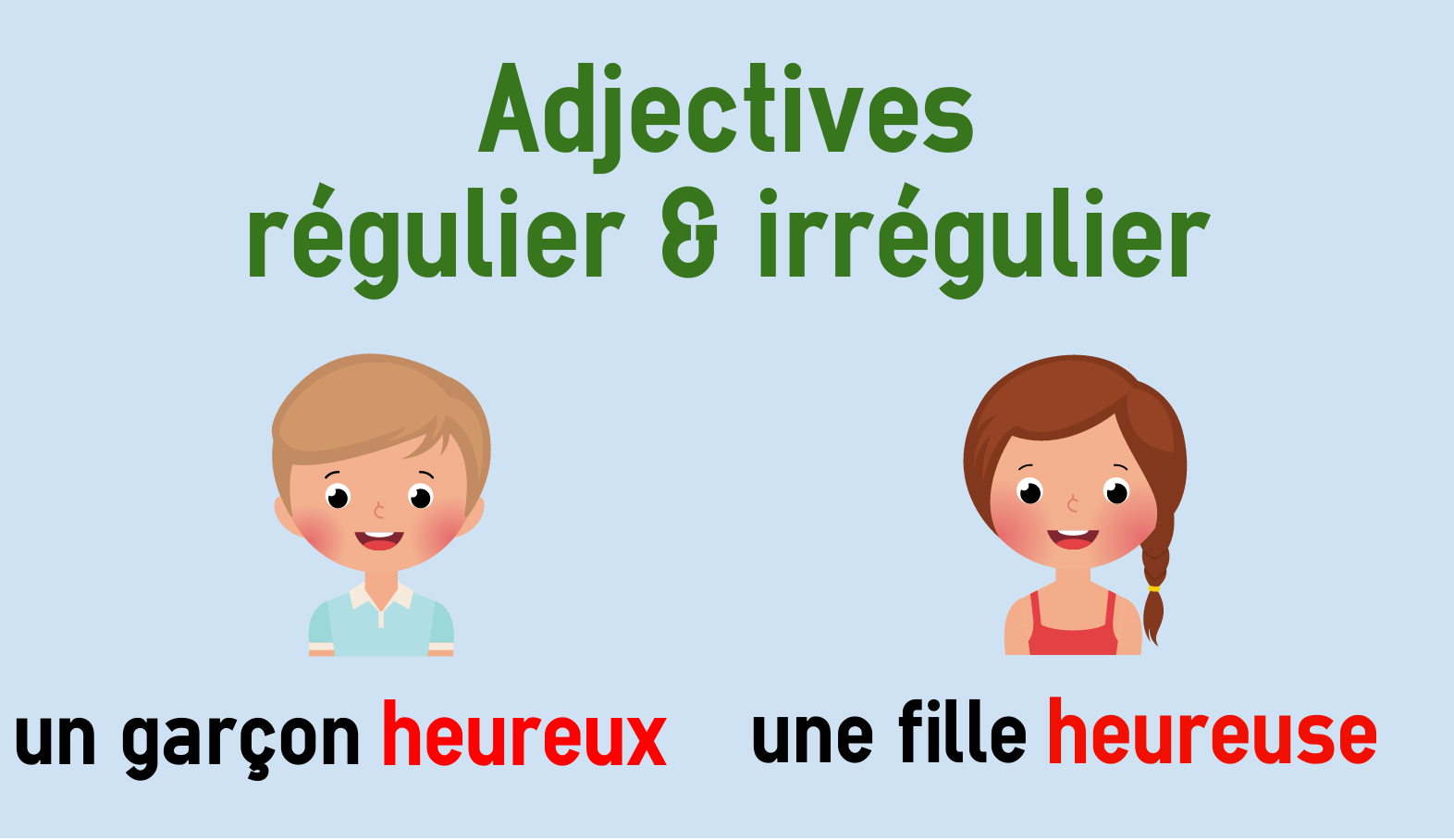 Endings Of Regular And Irregular French Adjectives